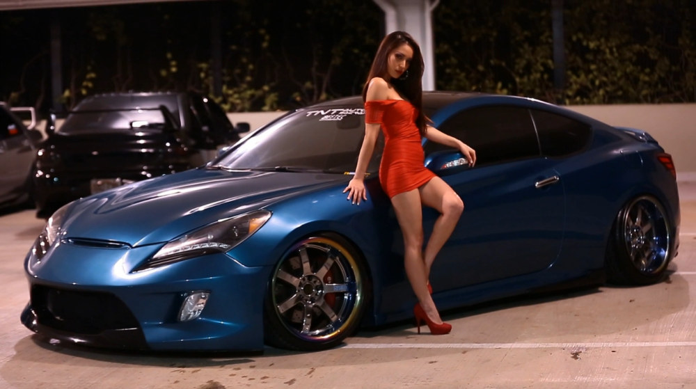 Super model Tia Morals with Hyundai Genesis Coupe