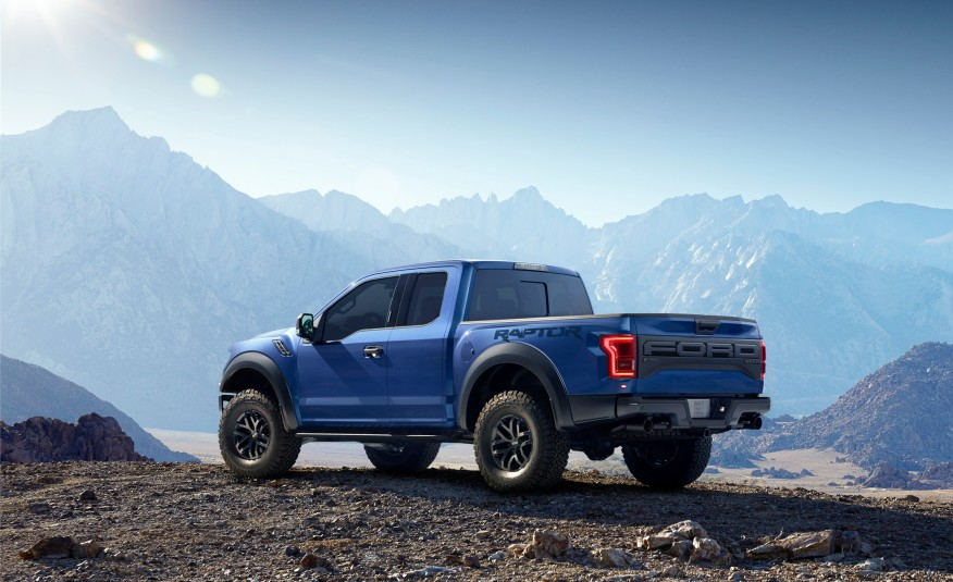 2017 Ford F150 Raptor rear view in the mountains