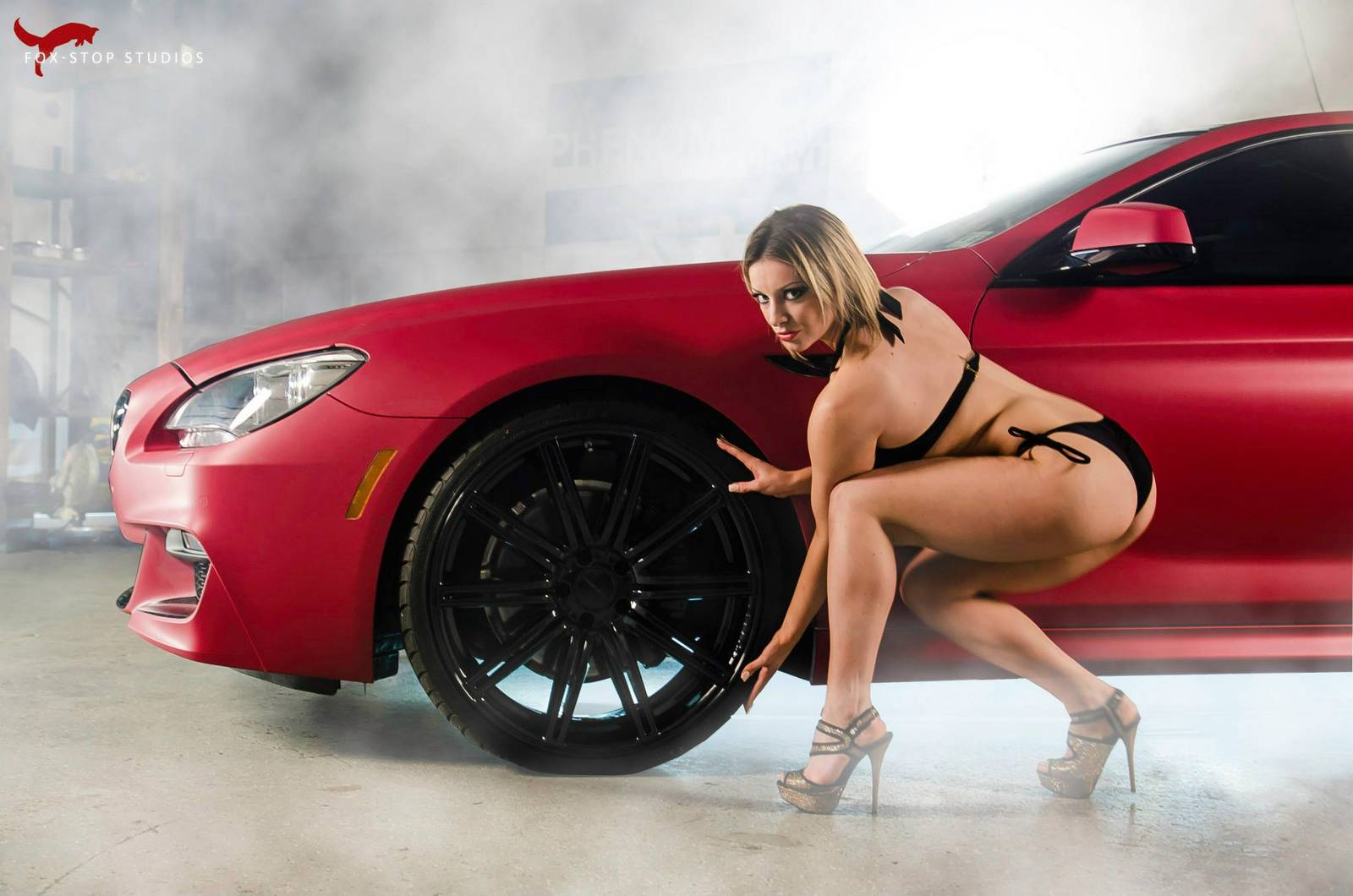 Matte-Cherry-Red-BMW-6-Series-Photoshoot-with-Sexy-Models-by-Phenomenal-Vinyl-3