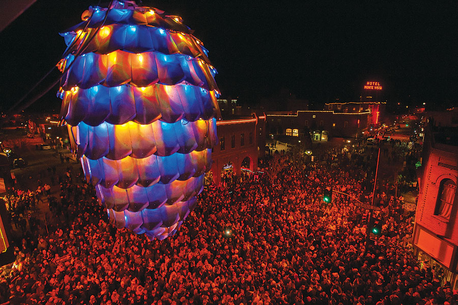 New Year's Eve in Flagstaff and a big pinecone. Photo credits: Valleylifestyles