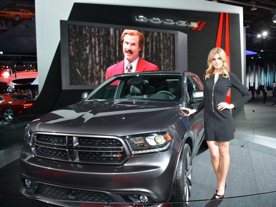 Dodge Durango, hot model and Ron Burgondy (RIP) at NAIAS