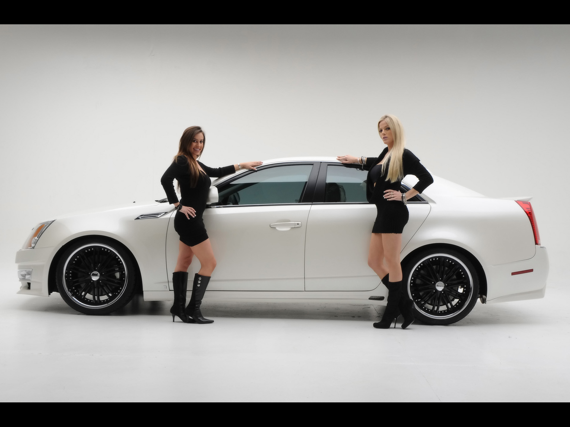 Hot girls and Cadillac CTS-V